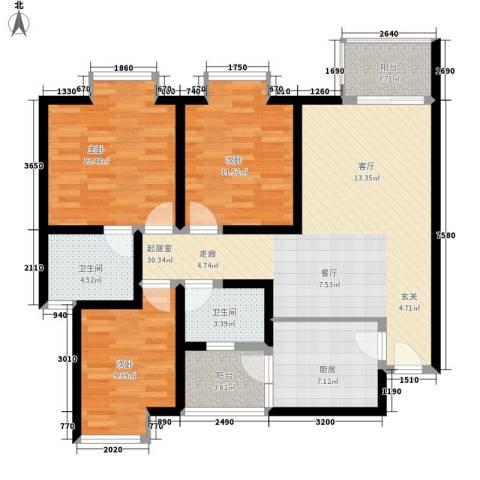 中华坊云岭3室0厅2卫1厨103.00㎡户型图