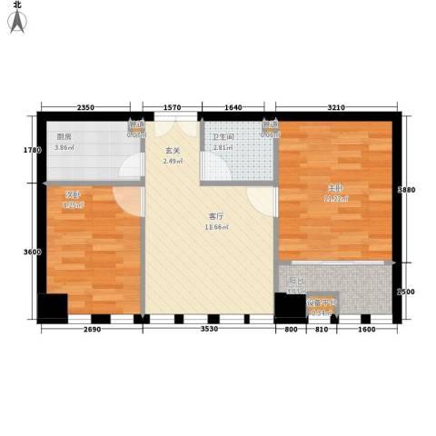 峰峰文化大厦2室1厅1卫1厨68.00㎡户型图