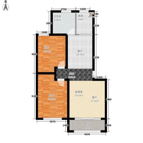 滨河第一城2室0厅1卫1厨87.00㎡户型图