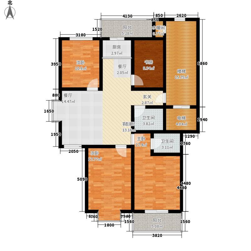 御花园147.00㎡四室两厅一厨两卫一阳台户型4室2厅2卫