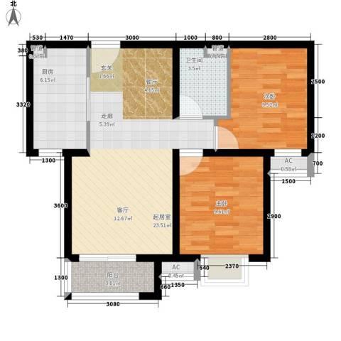 新城区法院家属院2室0厅1卫1厨82.00㎡户型图