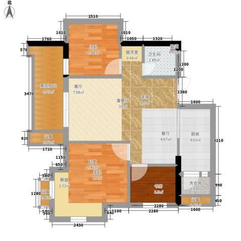 重庆国际家纺城绣色3室1厅1卫1厨58.00㎡户型图
