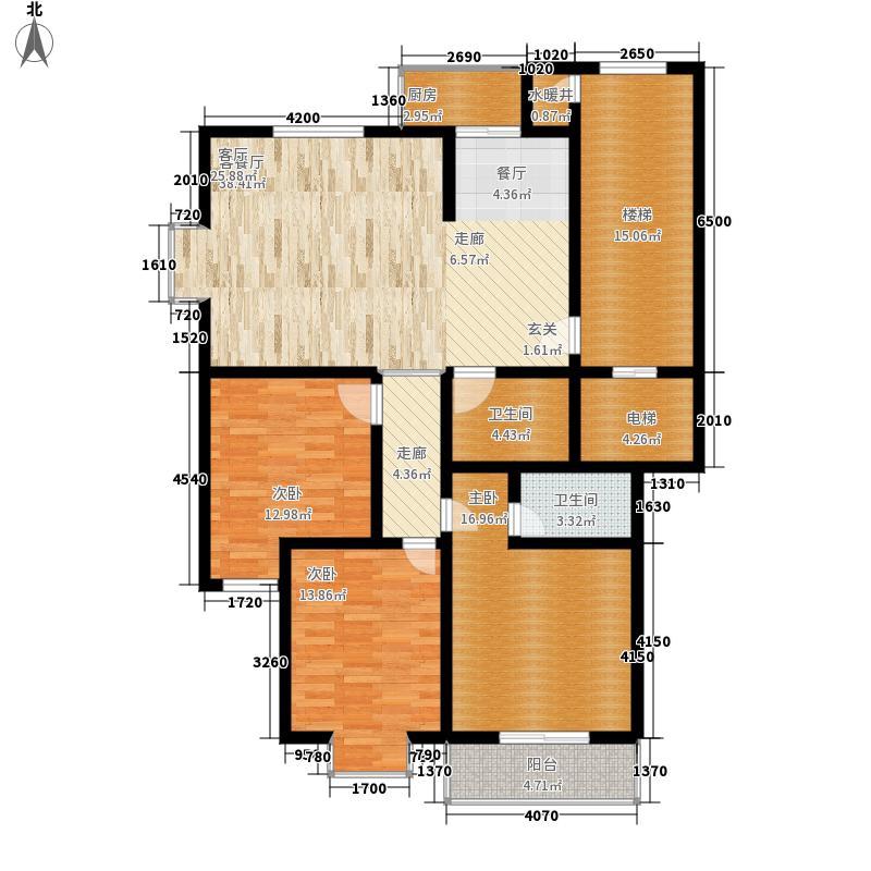 御花园140.00㎡三室两厅一厨两位一阳台户型3室2厅2卫