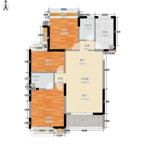 淮安明发商业广场3室0厅2卫1厨121.00㎡户型图