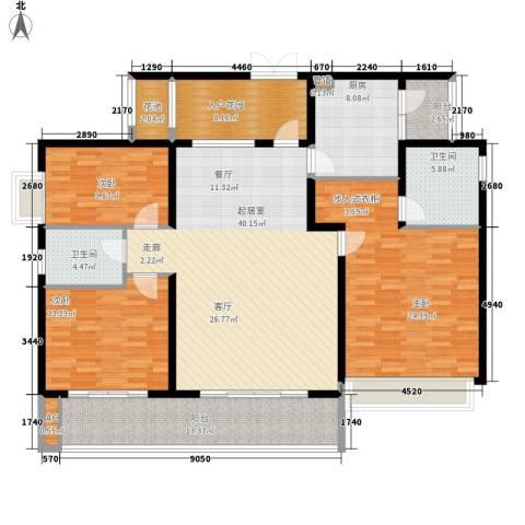 鲁能星城三街区3室0厅2卫1厨156.00㎡户型图