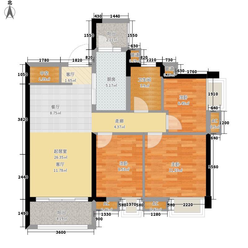 中海誉城91.46㎡A18栋06单位户型3室1厅