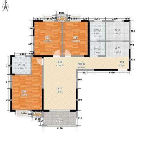 铜冠花园3室0厅2卫1厨156.00㎡户型图