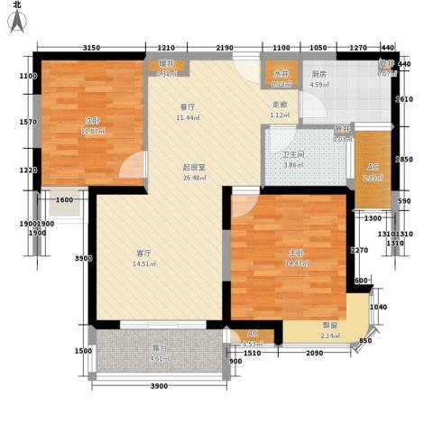 淮安明发商业广场2室0厅1卫1厨99.00㎡户型图