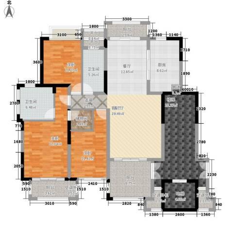 亚凯园3室1厅2卫1厨204.00㎡户型图