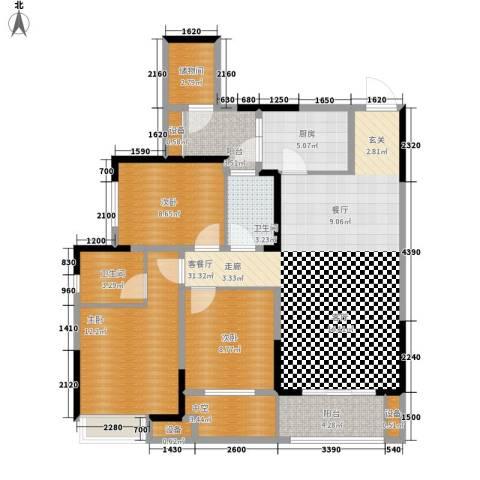 旭辉新里城3室1厅2卫1厨88.24㎡户型图