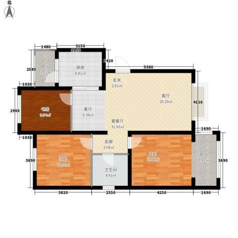 银湖馨苑3室1厅1卫1厨98.82㎡户型图