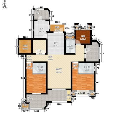 保利湖畔林语3室1厅3卫1厨140.00㎡户型图