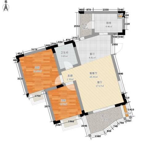 富悦新城2室1厅1卫1厨71.00㎡户型图