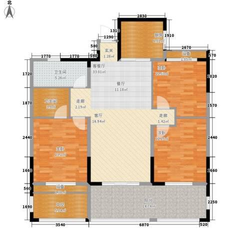 中嘉银都水岸3室1厅2卫1厨119.00㎡户型图