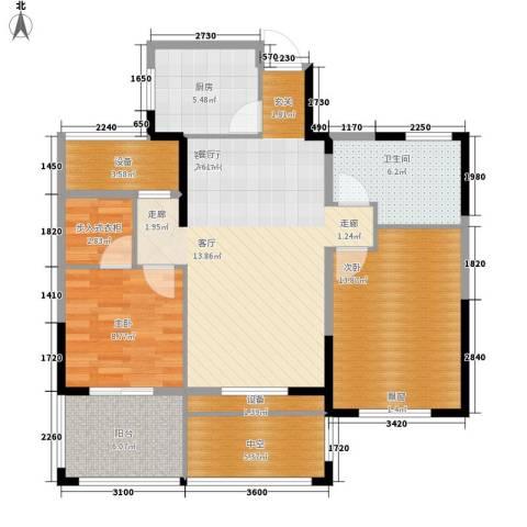 中嘉银都水岸2室1厅1卫1厨93.00㎡户型图