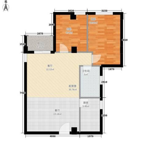 嘎洒集贸市场北区2室0厅1卫1厨80.00㎡户型图
