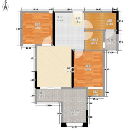 旭辉新里城2室1厅1卫1厨61.45㎡户型图