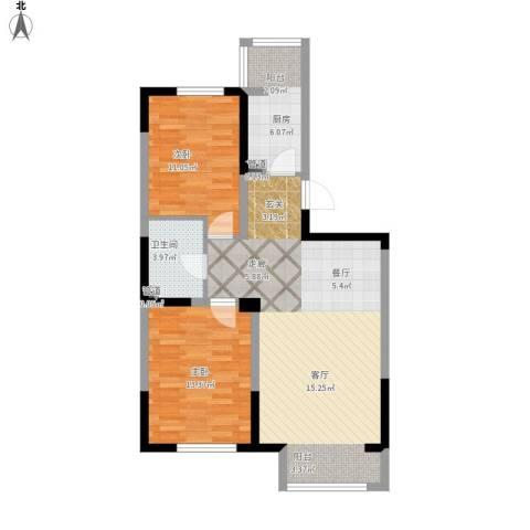 马德里皇家水岸2室1厅1卫1厨96.00㎡户型图