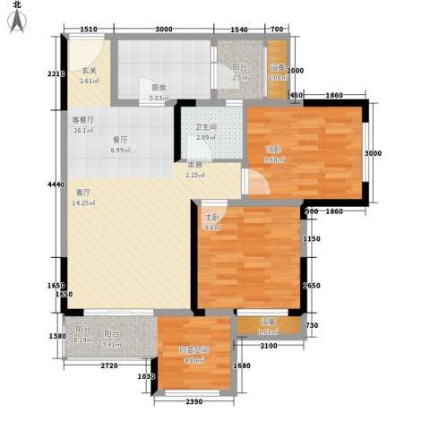 旭辉新里城2室1厅1卫1厨66.23㎡户型图