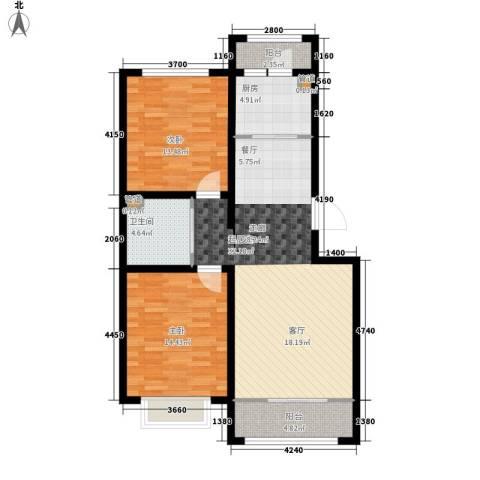 滨河第一城2室0厅1卫1厨88.00㎡户型图