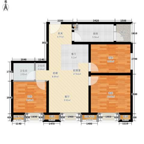 时代庐山3室0厅1卫1厨100.00㎡户型图