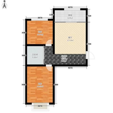 滨河第一城2室0厅1卫1厨73.00㎡户型图
