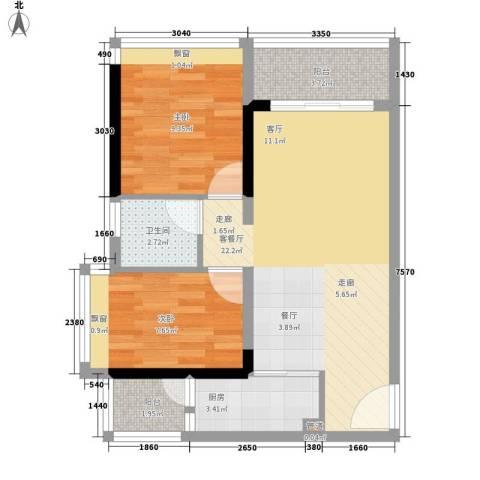 时尚明苑2室1厅1卫1厨65.00㎡户型图