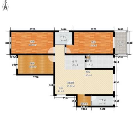 阳光嘉苑3室1厅2卫1厨148.00㎡户型图