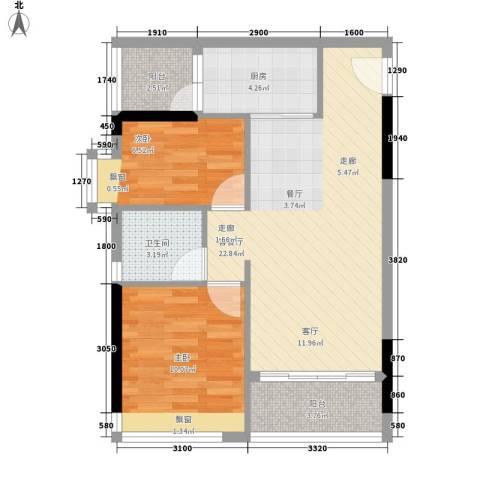 时尚明苑2室1厅1卫1厨64.00㎡户型图