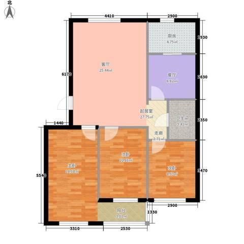 中原新村3室1厅1卫1厨112.00㎡户型图