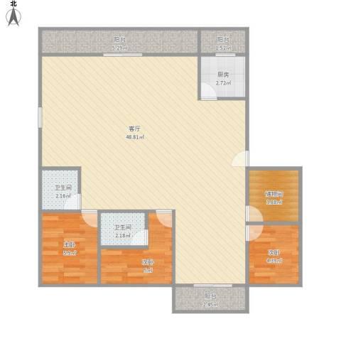 徐汇中凯城市之光3室1厅2卫1厨114.00㎡户型图