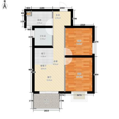 听城2室1厅1卫1厨78.00㎡户型图