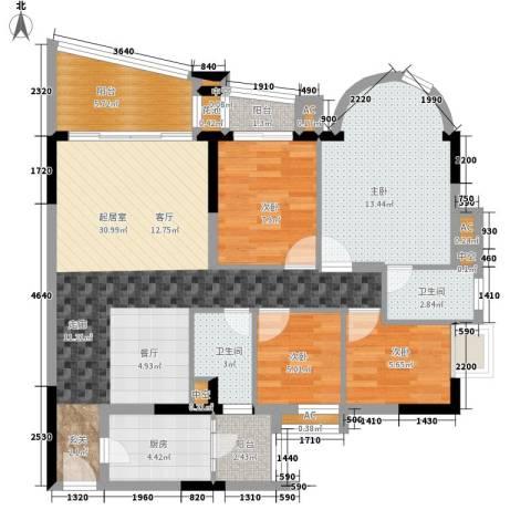 珠江帝景苑4室0厅2卫1厨123.00㎡户型图