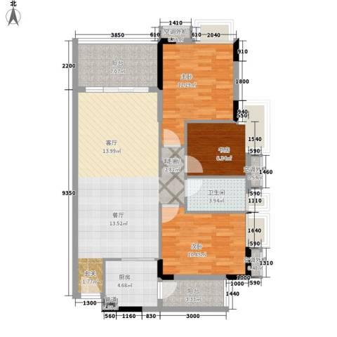 新时代家园3室1厅1卫1厨92.00㎡户型图