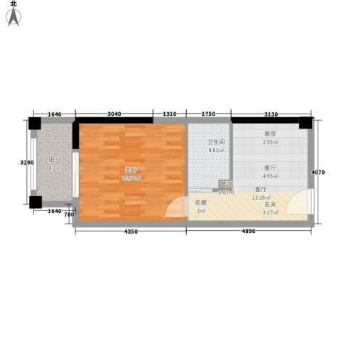 星汇半岛1室1厅1卫0厨43.00㎡户型图