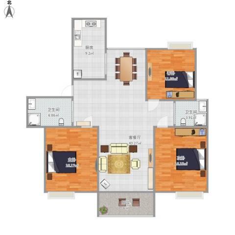 香槟花园3室1厅2卫1厨150.00㎡户型图