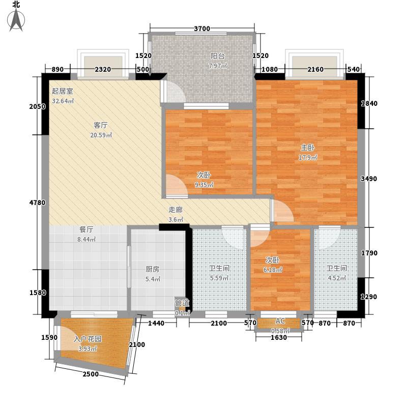 海力花园102.00㎡海里六街1号楼标准层01单元3室户型