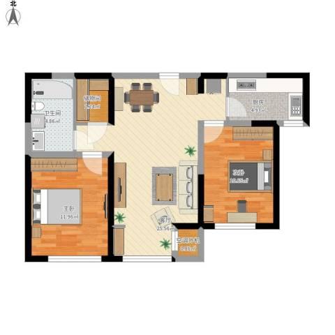 北宁湾2室1厅1卫1厨88.00㎡户型图