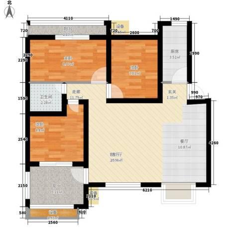天资里3室1厅1卫1厨81.00㎡户型图