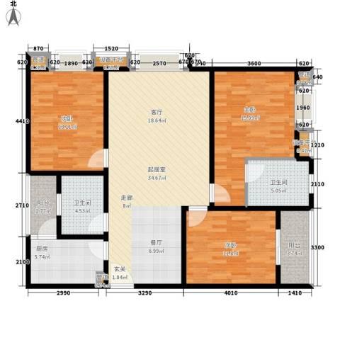 时代庐山3室0厅2卫1厨139.00㎡户型图