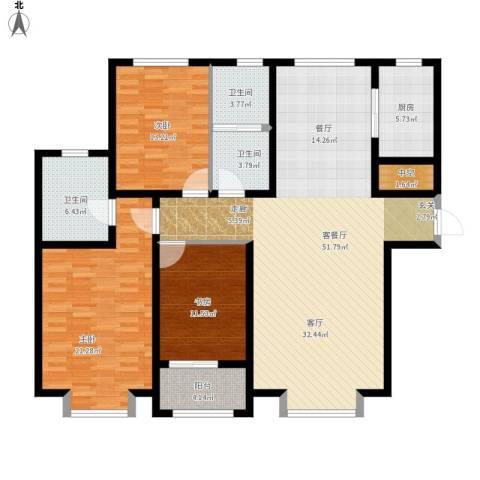 秀兰城市美居3室1厅3卫1厨175.00㎡户型图