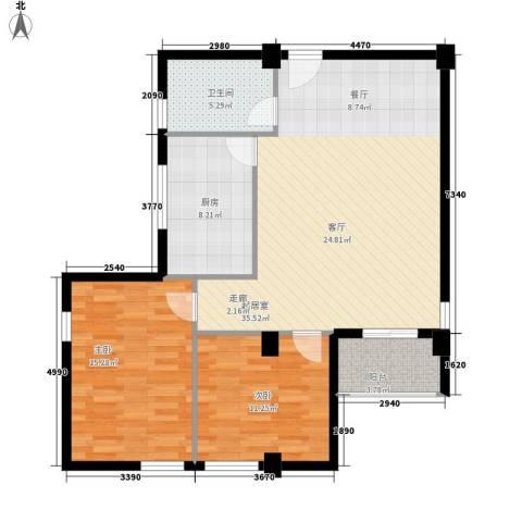 嘎洒集贸市场北区2室0厅1卫1厨88.00㎡户型图