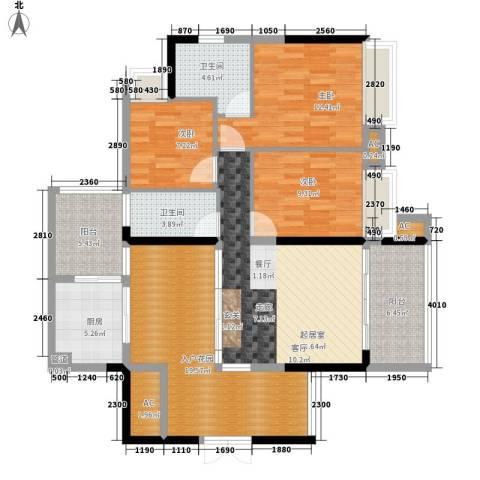 泊岸君庭3室0厅2卫1厨115.00㎡户型图