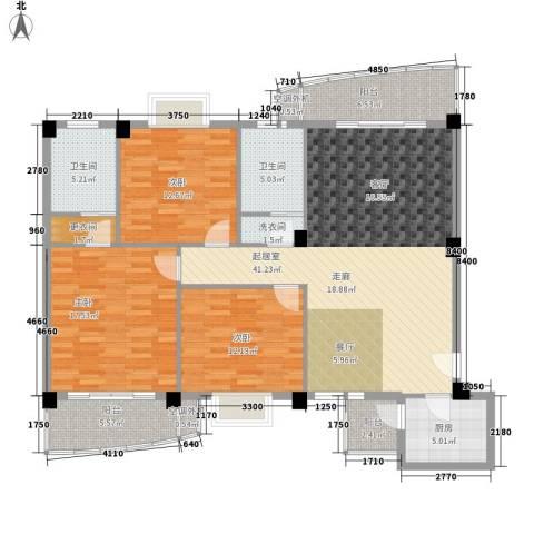 绿色晴川3室0厅2卫1厨130.00㎡户型图