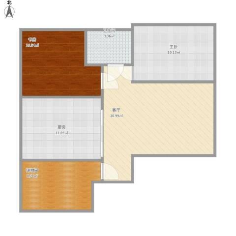 阳光乘风新城2室1厅1卫1厨87.00㎡户型图