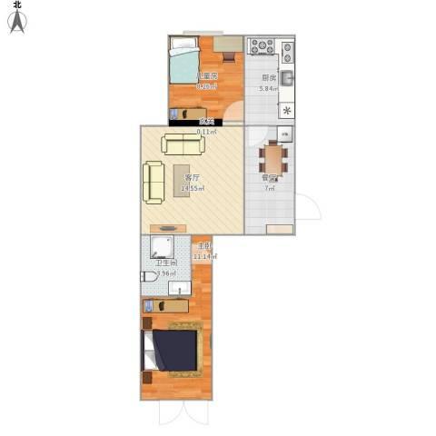 银枫家园2室2厅1卫1厨66.00㎡户型图