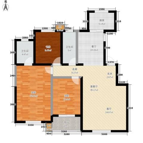 雅荷春天3室1厅2卫1厨145.00㎡户型图