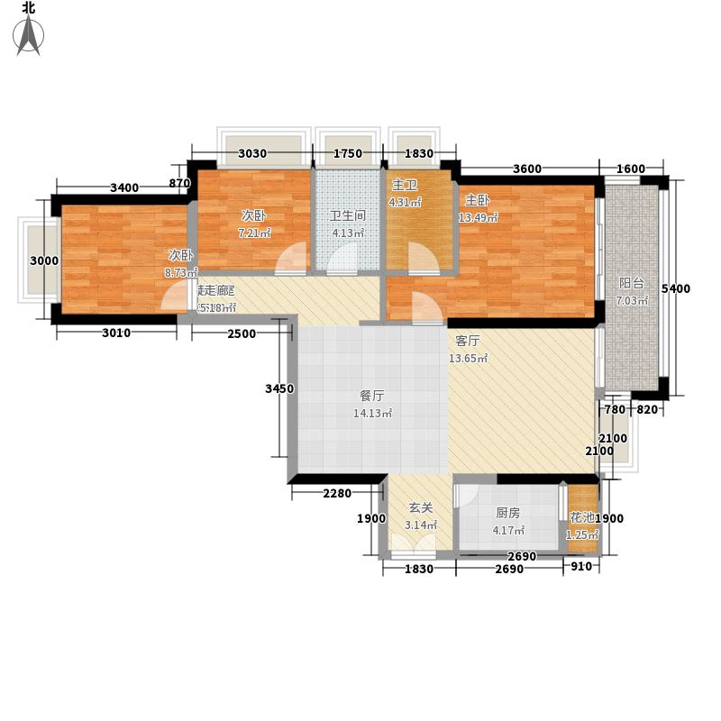 景跃御珑名苑A2户型翡翠悠居三房两厅两卫111.26㎡户型3室2厅2卫
