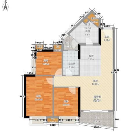 金碧新城3室0厅1卫1厨92.00㎡户型图