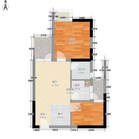 东方新天地大厦2室0厅1卫1厨61.00㎡户型图